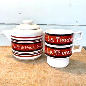 """Retro Teapot Set """"Le thé pour deux"""" Made in Japan"""